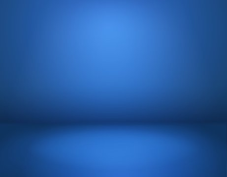 Blue studio background. Empty blue room in perspective, modern workshop with space. Advertisement interior, website wallpaper vector mockup