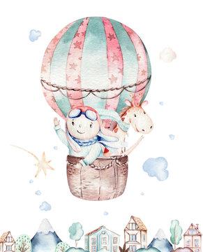 Watercolor balloon set baby cartoon cute pilot aviation illustration. sky transport balloons with giraffe and elephant, koala, bear and bird, clouds. childish baby boy shower illustration