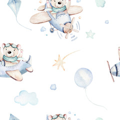 Watercolor set baby cartoon cute pilot aviation background illustration of fancy sky transport complete with airplanes balloons, clouds. childish Boy pattern. It's a baby shower illustration