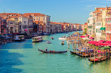Foto op Canvas Gondolas Venice promenade with Church of Santa Maria della Salute in summer sunny day with a gondola sights of Italy in the Adriatic