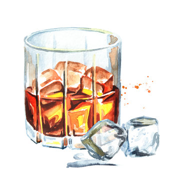 Glass filled with half alcoholic drink whiskey or brandy or cognac and ice cubes. Watercolor hand drawn illustration, isolated on white background