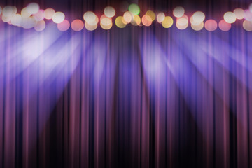 Photo sur Plexiglas Lumiere, Ombre blurred theater stage with purple curtains and spotlights, abstract image of concert lighting