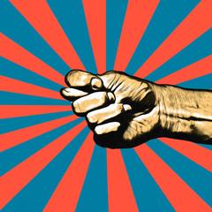 Retro pop art poster. Man's hand shows the fig.