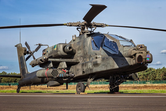 KLEINE BROGEL, BELGIUM - SEP 8, 2018: Royal Netherlands Air Force Boeing AH-64D Apache attack helicopter on the tarmac of Kleine-Brogel Airbase.