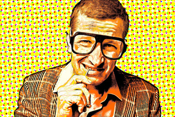 Garden Poster Pop Art Retro pop art poster, a man in large glasses and a jacket holds a toothpick in his mouth with his hand.