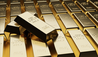 Gold bullion concept about gold value, success and financial.3D render Fototapete