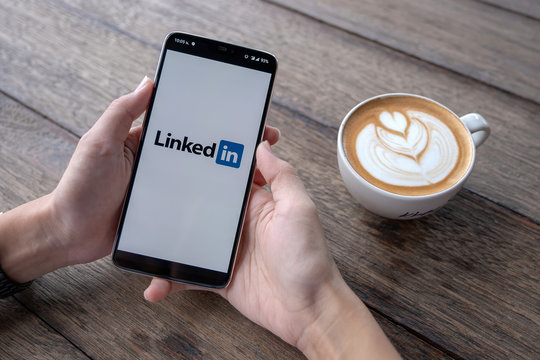 CHIANG MAI, THAILAND - May 11 2019 : Oneplus 6 with LinkedIn application on the screen. LinkedIn is a business-oriented social networking service.