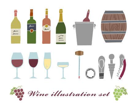 ワインや道具のイラストセット