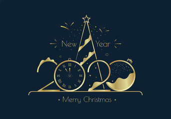 Happy New Year 2020 greeting card design with gold elements