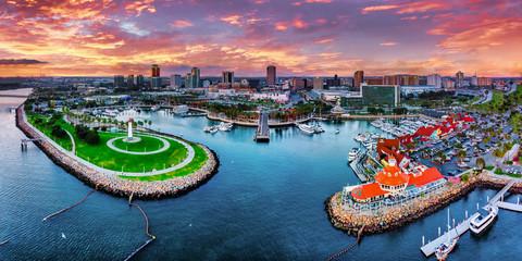 Fototapete - Long Beach City Panorama Los Angeles