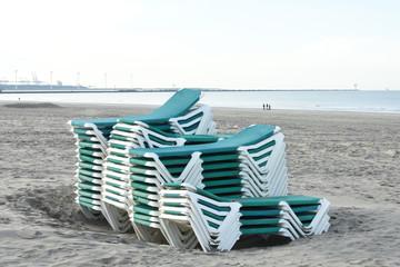 beach chairs on the Nordsea beach of Hoek van Holland