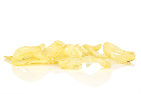 Lot of whole crisp potato chip isolated on white background