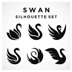 Swan Set logo Template vector illustration design