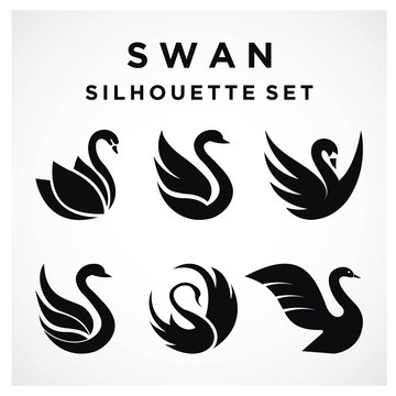 Swan Set logo Template vector illustration design