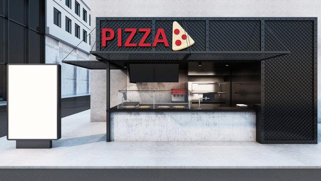 Front view Pizza shop & Restaurant design. Modern minimal metal black. wall concrete,windows black metal frame- 3D render