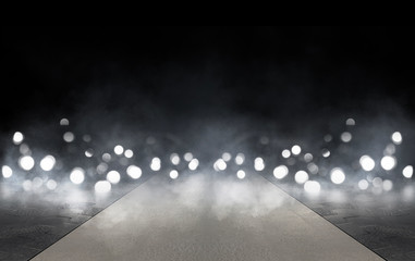 Fotomurales - Wet asphalt, reflection of neon lights, a searchlight, smoke. Abstract light in a dark empty street with smoke, smog. Dark background scene of empty street, night view, night city.