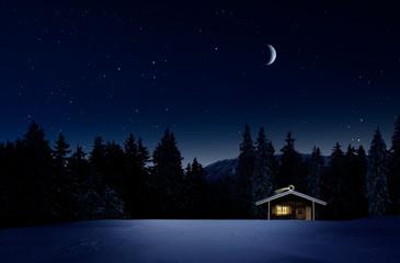 Photo sur Aluminium Pays d Afrique Weihnachtlich beleuchtete Hütte in Kalter Winternacht mit Sternenhimmel