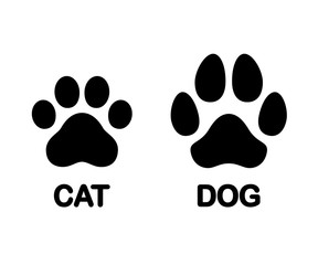 Dog and cat paw print