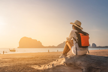 Happy traveler woman joy relaxing on summer vacation at sunset Pak Meng beach, Leisure outdoor lifestyle tourist travel Trang Thailand fun beach, Tourism beautiful destination place Asia holiday trips Fotomurales
