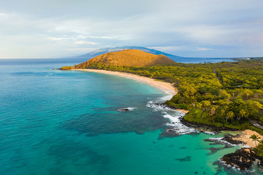 High Angle view of Makena State Park, Big Beach — Maui, Hawai