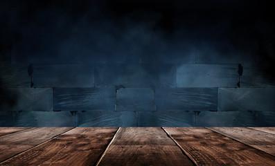 Foto auf AluDibond Blaue Nacht Wooden table, empty room with concrete walls. Empty studio scene.