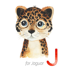 Watercolor Animals Alphabet.Learn letters with funny animals. Cute Jaguar for J letter.  Perfect for education, baby shower, children prints or room decor, template cards, books and much more