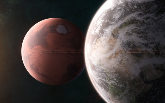 Earth on background of Mars. Solar system. 3D Render. Science fiction. Elements of this image furnished by NASA