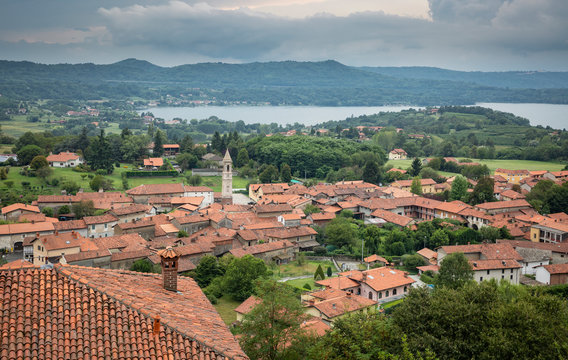 aerial view over Roppolo town and the Viverone lake, Province of Biella, region Piemonte, Italy