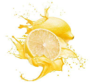 lemons in yellow juice splash isolated on a white background