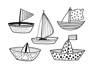 Black and white boats set isolated on white background. Vector stock illustration. Hand drawing outline ship for tattoo, coloring book, children's prints.