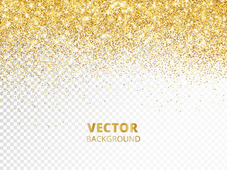 Sparkling glitter border, frame. Falling golden dust isolated on transparent background. Vector decoration.