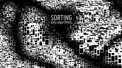Fotoväggar - Vector abstract monochrome big data information sorting visualization. Social network, financial database structuration as mosaic chart. Visual complexity clarification. Intricate Mekko graphic