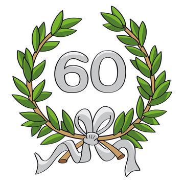 Ehrenkranz 60 Jahre grün silber und mit silberner Schleife von Hand gezeichnet
