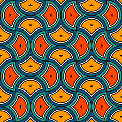 Photo sur Toile Style Boho Ethnic tribal affrican seamless pattern. Ogee drop ornament. Repeated maroccan scales mosaic tiles. Scallop shapes motif