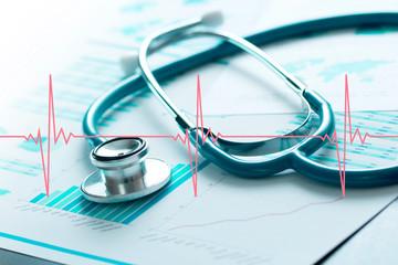 stetoscopio, cardiologia, grafico, cartella clinica, salute