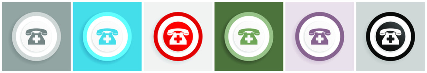 Emergency call icon, phone vector illustrations in 6 colors options for web design and mobile applications in eps 10