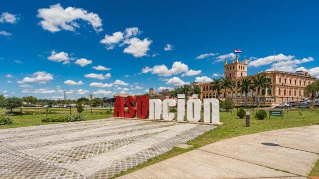 Asuncion, Paraguay - November 05, 2018: Asuncion letters in front of the Presidential Palace in the capital of Paraguay.