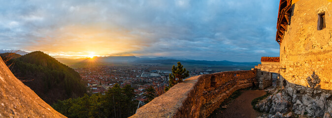 Wall Mural - Landscape with Medieval fortress Rasnov at sunset, Brasov, Transylvania, Romania