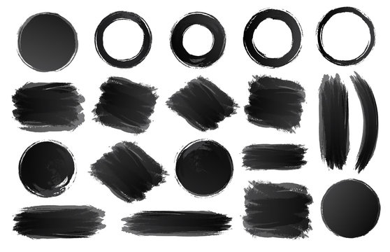 Vector ring, circle and shapes watercolor texture set black color isolated on white background for painting, logo, emblem, label. Hand draw grunge stripes circle. 10 eps