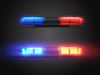 Realistic police led flasher set. Red and blue lights. Transparent beacon for emergency situations.