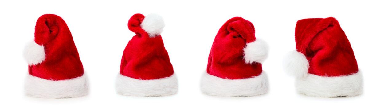 Four Santa Christmas hats