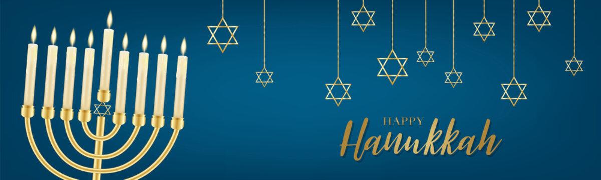 Happy Hanukkah. Traditional Jewish holiday. Chankkah banner or website header background design concept. Judaic religion decor with Menorah, candles, David star. Vector illustration.