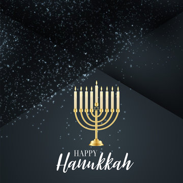 Happy Hanukkah. Traditional Jewish holiday. Chankkah banner, poster or flyer design concept. Judaic religion decor with Menorah, candles. Silver glitter decoration. Vector illustration.