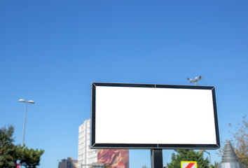 Close-up advertising sign. In white background. Photographed on a summer day.