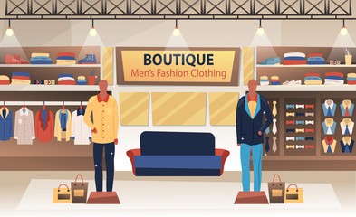 Interior of boutique of men s fashion clothing. Flat style. Vector illustration
