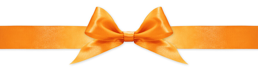 orange ribbon bow isolated on white background, for event or gift package