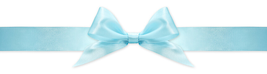 Fotomurales - blue  ribbon bow isolated on white background, for event or gift package