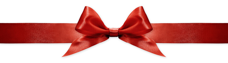 Fotomurales - red ribbon bow isolated on white background, for event or gift package