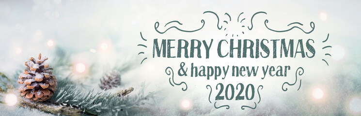 Foto auf AluDibond Weiß Merry Christmas and Happy New Year 2020 - Christmas congratulations card - Pine cone in snow landscape with magic lights - Banner, header
