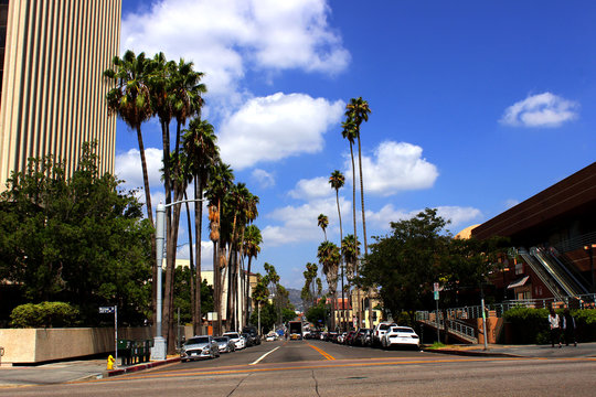 Los Angeles, California, USA. September 20, 2019. Center for the Koreatown  in Los Angeles. The road to Hollywood with tall palm trees.